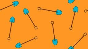 Безшовная картина агро строя значков с красивыми острыми лопаткоулавливателями штифта с деревянными ручками для выкапывать землю  иллюстрация вектора