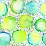 Безшовная картина акварели круглых пятен и малых ходов Стоковые Фотографии RF