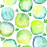 Безшовная картина акварели круглых пятен с велосипедами Стоковая Фотография RF
