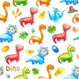 Безшовная картина акварели Милые динозавры усмехающся и смотрящ в одном направлении против предпосылки красочных яя, a бесплатная иллюстрация