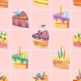 Безшовная картина акварели с куском пирога на розовой предпосылке шотландки Стоковые Фото