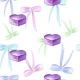 Безшовная картина акварели с покрашенным смычком, бирками, подарочной коробкой, фиолетовым сердцем иллюстрация штока