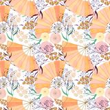 Безшовная картина акварели с стилем цветков и вентиляторов на белой предпосылке Стоковое фото RF