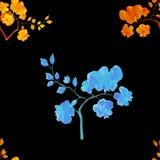 Безшовная картина акварели с цветками орхидеи стоковые изображения