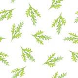 Безшовная картина акварели с зелеными листьями Стоковая Фотография RF