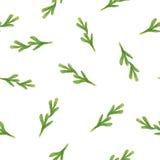 Безшовная картина акварели с зелеными листьями Стоковое Изображение RF