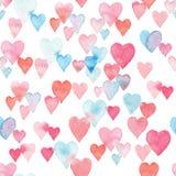 Безшовная картина акварели с красочными сердцами - розовыми, фиолетовыми, голубыми подкрасками Стоковое Фото