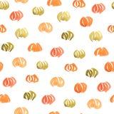Безшовная картина акварели с тыквами Стоковая Фотография RF