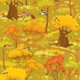 Безшовная картина - ландшафт леса осени с деревьями, грибами Стоковые Изображения
