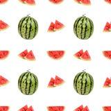 Безшовная картина арбуза и кусков арбуза Стоковая Фотография
