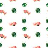 Безшовная картина арбуза шаржа Кусок арбуза Стоковое фото RF