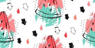 Безшовная картина арбузов Предпосылка вектора с кусками арбуза акварели Стоковые Фото