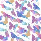 Безшовная картина бабочек акварели Стоковое фото RF