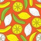 Безшовная картина бананов и лимонов Стоковое Фото
