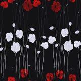 Безшовная картина белого и глубоко - красные цветки мака на черной предпосылке Акварель - 2 бесплатная иллюстрация