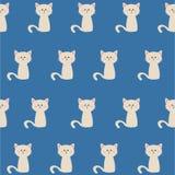 Безшовная картина белое cat-3 Стоковая Фотография RF