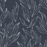 Безшовная картина белых листьев плана Стоковое Фото