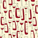 Безшовная картина бутылок вина Стоковые Фото
