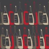 Безшовная картина бутылок вина Стоковая Фотография RF