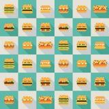 Безшовная картина вектора бургеров пиксела стоковая фотография rf