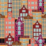 Безшовная картина вектора голландских домов Иллюстрация штока