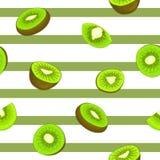 Безшовная картина вектора зрелого киви Striped предпосылка с очень вкусной сочной зеленой половиной куска кивиа выходит свеже бесплатная иллюстрация