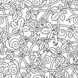 Безшовная картина вектора от переплетенных ветвей, улиток и листьев Черная линейная картина Стоковое Изображение