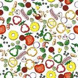 Безшовная картина вектора пищевых ингредиентов Стоковые Изображения