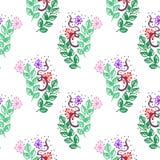 Безшовная картина вектора, предпосылка с цветками и листья на белом фоне Чертеж эскиза руки Имитация pencillin чернил иллюстрация штока