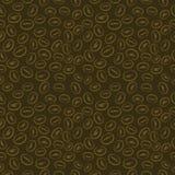 Безшовная картина вектора, предпосылка темного коричневого цвета с кофейными зернами Стоковое Фото