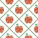 Безшовная картина вектора, предпосылка ярких плодоовощей симметричная с красными декоративными орнаментальными яблоками и косоуго Стоковая Фотография