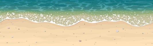 Безшовная картина вектора пляжа песка моря Стоковые Изображения RF