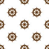Безшовная картина вектора рулевого колеса кораблей Стоковая Фотография