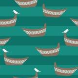 Безшовная картина вектора со шлюпками, чайками и нашивками teal воды иллюстрация штока