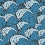 Безшовная картина вектора с волнами моря Стоковые Изображения