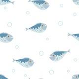 Безшовная картина вектора с голубыми рыбами Стоковая Фотография