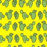 Безшовная картина вектора с грушей кактуса шиповатой Стоковое Изображение