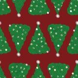 Безшовная картина вектора с зелеными рождественскими елками на красн иллюстрация вектора
