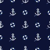 Безшовная картина вектора с иллюстрацией морского пехотинца украшения текстуры моря анкеров Стоковая Фотография RF