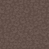 Безшовная картина вектора с кофейными зернами и чашками Стоковые Фото