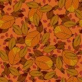 Безшовная картина вектора с красными, оранжевыми и желтыми листьями осени Стоковая Фотография