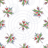 Безшовная картина вектора с кленовыми листами и кругами на воде Стоковое Изображение