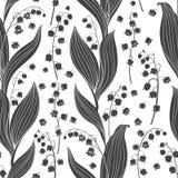 Безшовная картина вектора с лилиями долины Черные флористические силуэты на белой предпосылке бесплатная иллюстрация