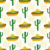 Безшовная картина вектора с мексиканскими праздничными силуэтами символов: кактус, sombrero иллюстрация штока