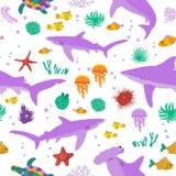 Безшовная картина вектора с милыми акулами и рыбами шаржа Стоковые Фотографии RF