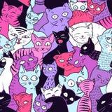 Безшовная картина вектора с милыми котами бесплатная иллюстрация