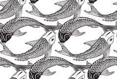 Безшовная картина вектора с нарисованными рукой рыбами Koi иллюстрация штока