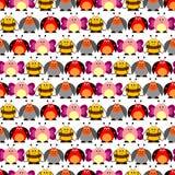 Безшовная картина вектора с насекомыми Милая предпосылка с красочными шуточными бабочками, ladybugs, жуками Колорадо и пчелами Стоковое Фото