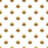 Безшовная картина вектора с насекомыми Симметричная предпосылка с милыми шуточными пчелами на белом фоне Стоковое Изображение