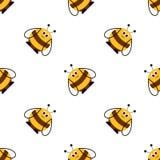Безшовная картина вектора с насекомыми Симметричная предпосылка с милыми шуточными пчелами на белом фоне Стоковое Изображение RF